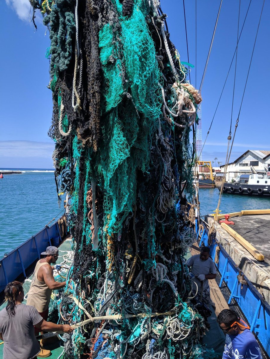 Ocean Voyages Institute removing ghost gear net found in the great Pacific Garbage patch