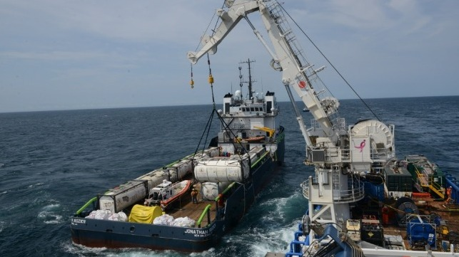 Coimbra Oil Recovery Project off New York. Oil was removed from sunken WWII vessel