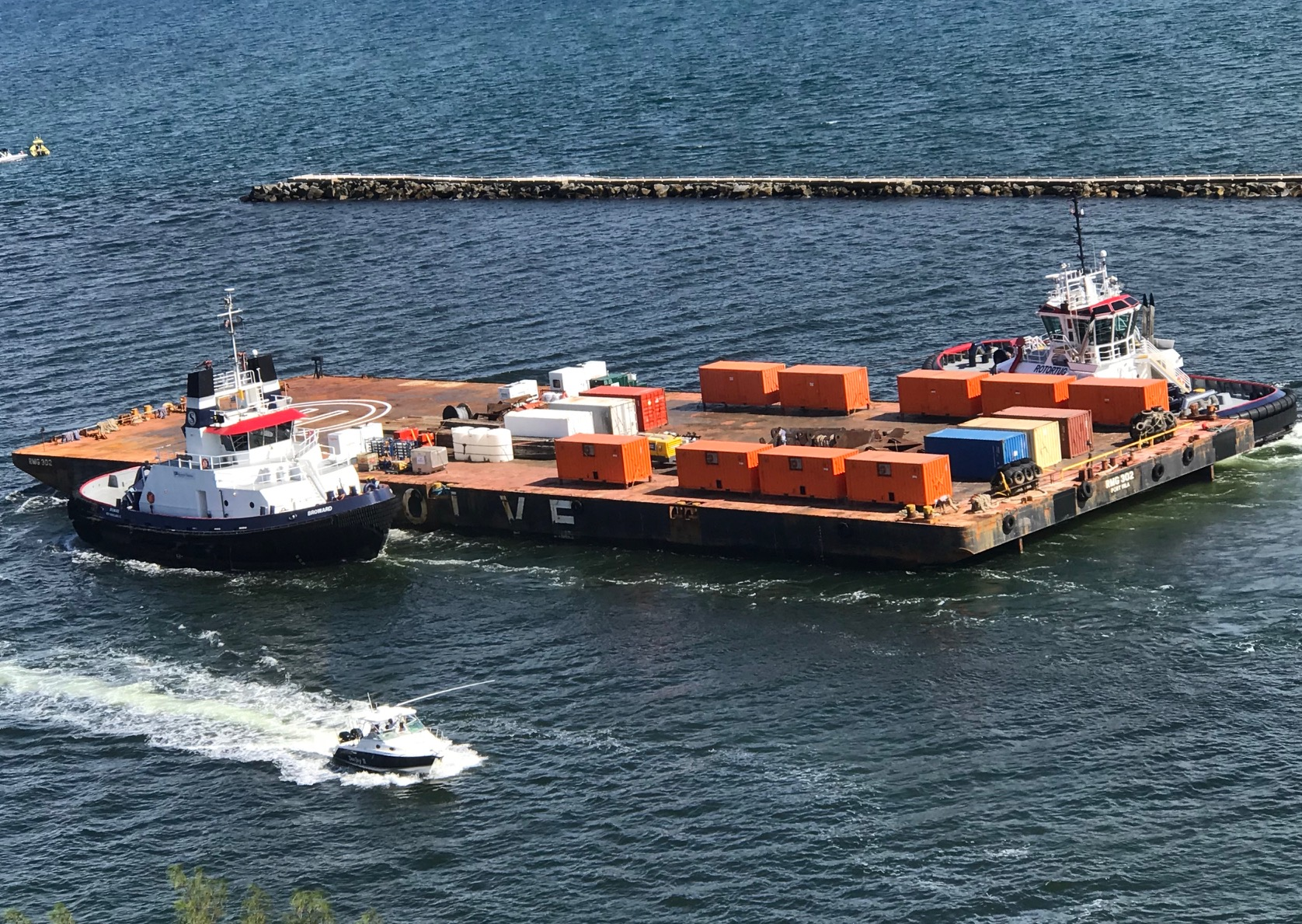 Barge with Reverse osmosis systems being shipped to Bahamas