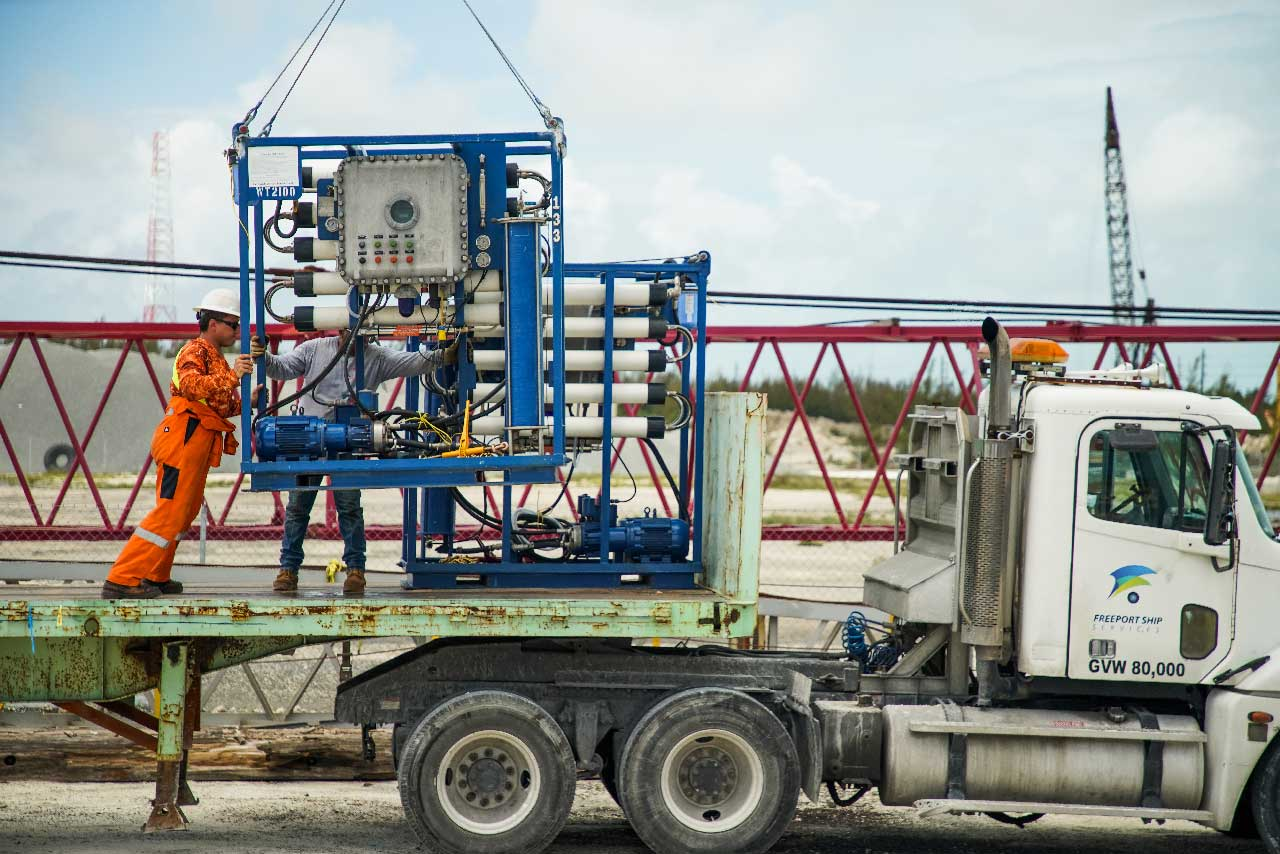 Reverse Osmosis Units loaded onto the truck in Freeport Bahamas