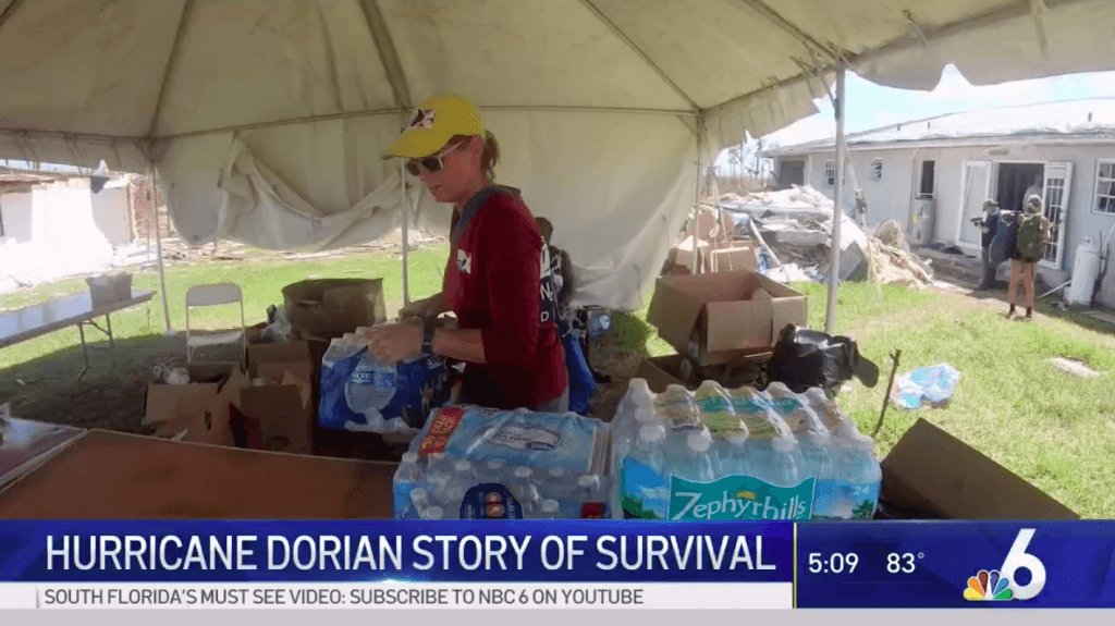 Screenshot of NBC6 video on hurricane relief effort in the Bahamas
