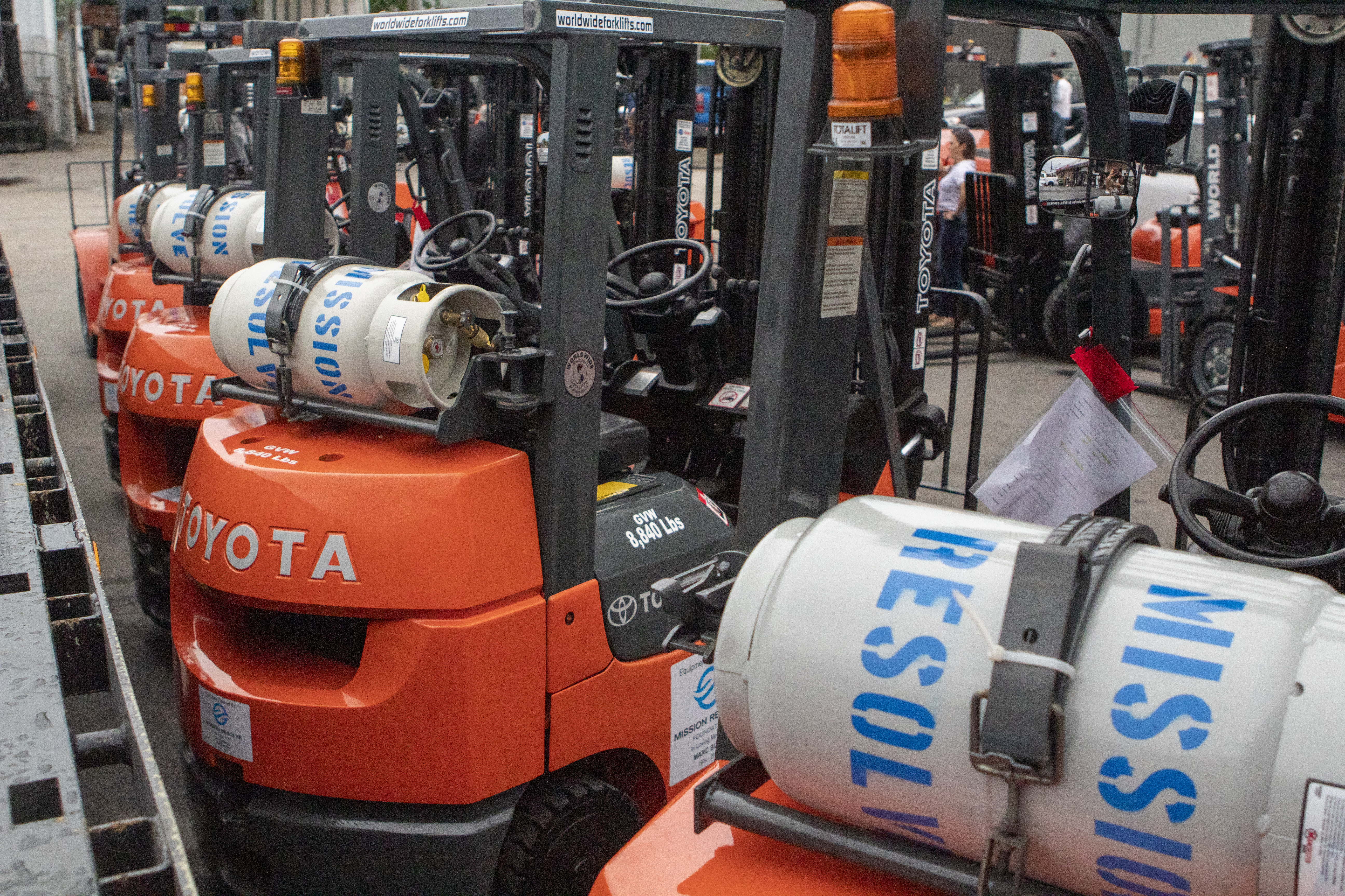 Mission Resolve donated Forklifts and propane tanks
