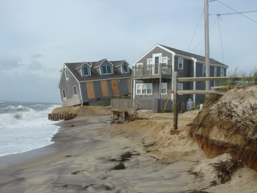 Coastal Erosion on beach in Nantucket. Houses falling into ocean