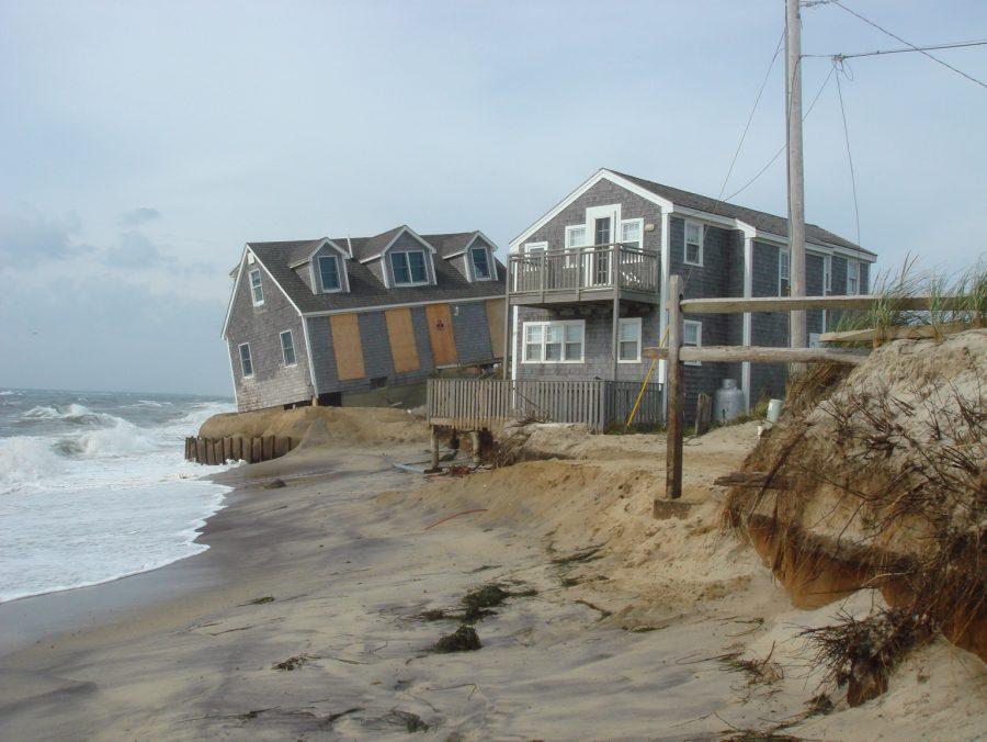 Coastal Erosion on beach in Nantucket. Houses falling into ocean